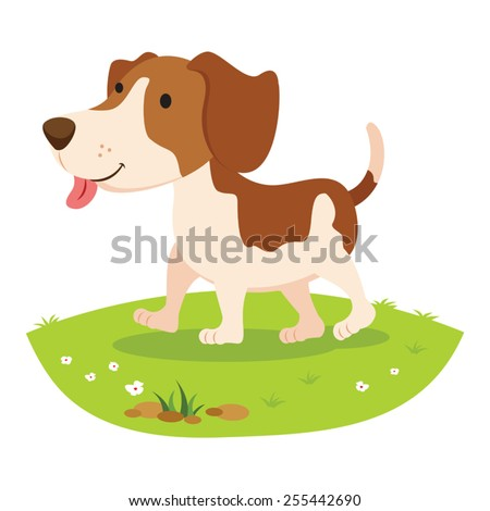 Farm dog. Cheerful dog . - stock vector
