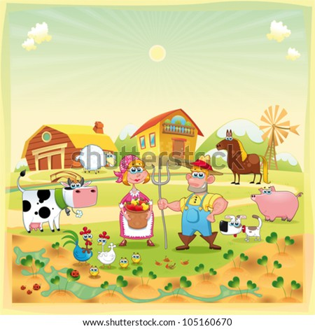 Farm Family. Funny cartoon and vector illustration. - stock vector