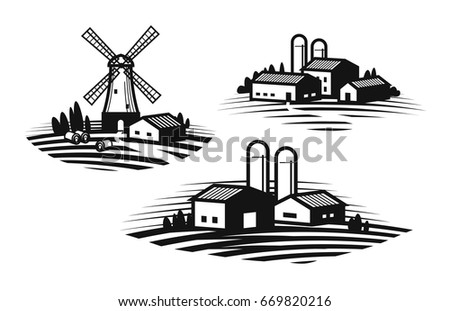 Farmhouse Windmill Agribusiness Agricultural Industry Icon Or