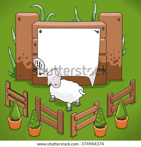 Farm fence with poster and startled sheep (empty space for your text) - stock vector