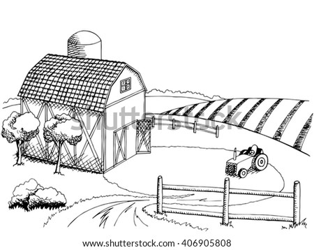 Farm Field Graphic Art Black White Landscape Illustration Vector