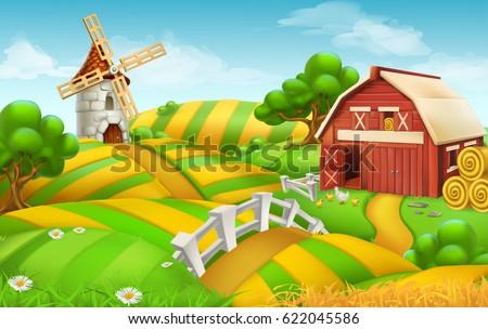 Farm Field Landscape 3d Vector Background