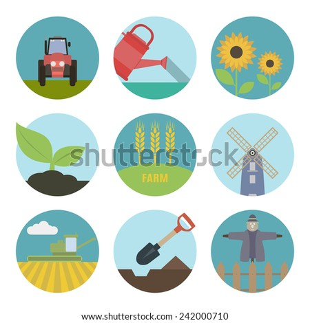 Farm  flat icons. Set of round icons - stock vector
