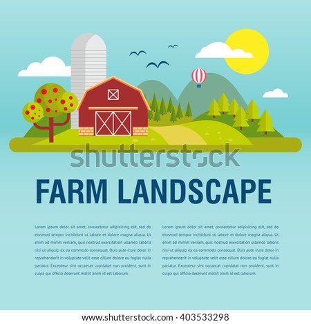 Farm flat Landscape with text. Natural background, organic farm products. Tree and farm house elements.  - stock vector