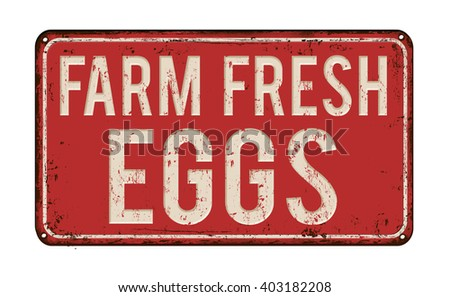 Farm fresh eggs on red vintage rusty metal sign on a white background, vector illustration - stock vector