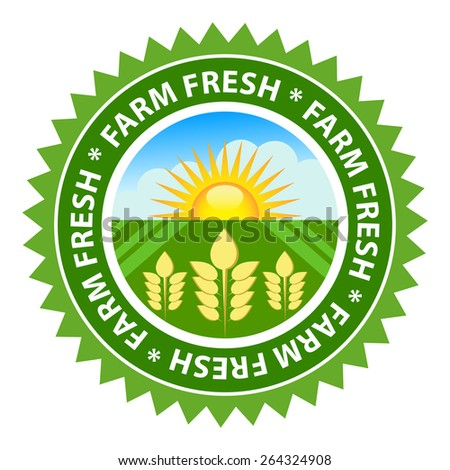 Farm fresh food label with sunny country background. - stock vector