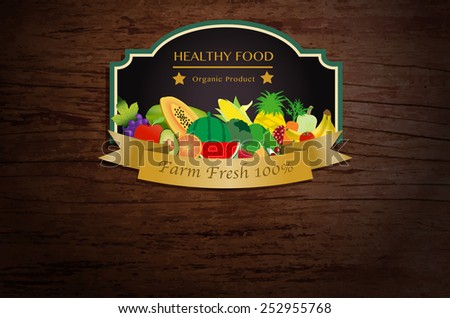 Farm fresh fruits and vegetables poster, Vector illustration template design - stock vector