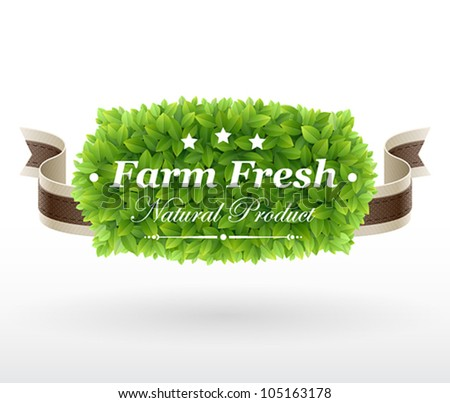 Farm Fresh label with green leaves texture. Vector illustration. - stock vector