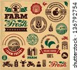Farm fresh labels. Organic Farming isolated vector sign set. Farmer. - stock vector