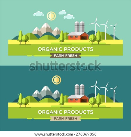 Farm fresh. Organic products. Organic food. Rural landscape. Vector illustration.