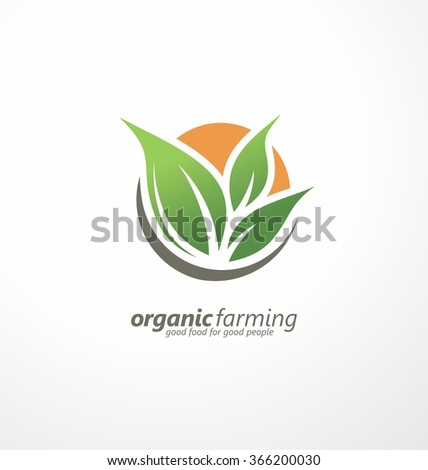 Farm fresh products unique sign or icon image. Plant sprout and sun symbol. Organic farming logo design idea. Agriculture logo design. Logo template for fresh farm food. Green products logo. - stock vector