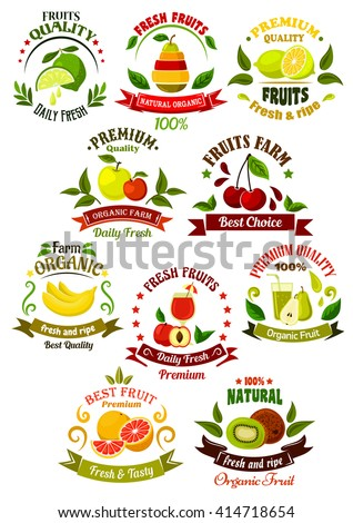 Farm fruits retro icons  with fresh apples, lemons, kiwi, pears, bananas, peach, cherries, oranges and limes, framed by colorful ribbon banners, juice drops, leaves and stars