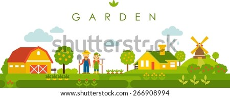 Farm garden panoramic landscape background in flat style with people, plants and houses - stock vector