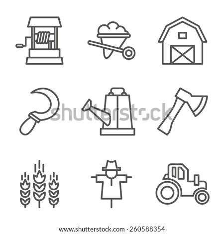 Farm, gardening, nature. Flat line style icon vector - stock vector