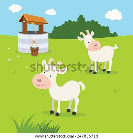 Farm. Goats and well. - stock vector