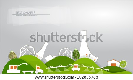 "Farm, green houses and harvest ""White city"" collection - stock vector"