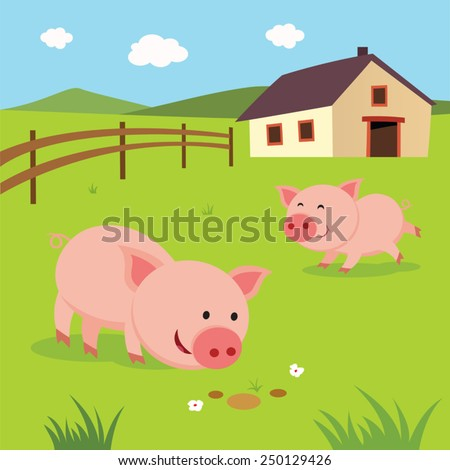 Farm Happy Pigs Little Playing And Having Fun