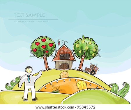 "Farm ""Happy world"" collection - stock vector"