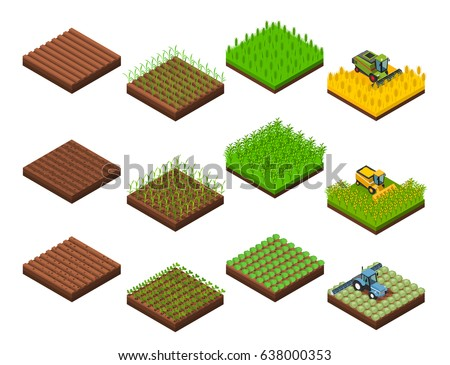 Farm harvesting set with isolated isometric square field section images at various stages of harvesting operations vector illustration