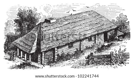 Farm house Eastern Pomerania (Germany-Poland) / vintage illustration from Brockhaus Konversations-Lexikon 1908 - stock vector