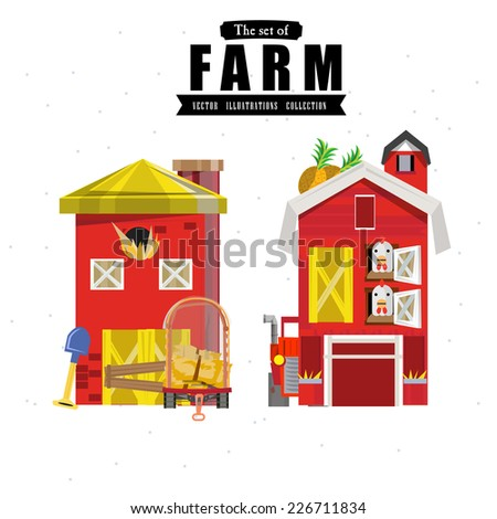 farm house in variou style  - vector illustration - stock vector