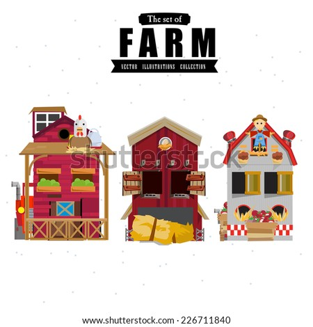 farm house in various style  - vector illustration - stock vector