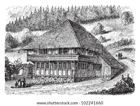 Farm house Schwarzwald (Black Forest) Germany / vintage illustration from Brockhaus Konversations-Lexikon 1908 - stock vector