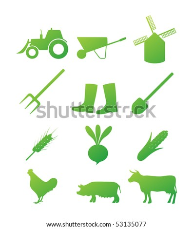 Farm icon set - stock vector