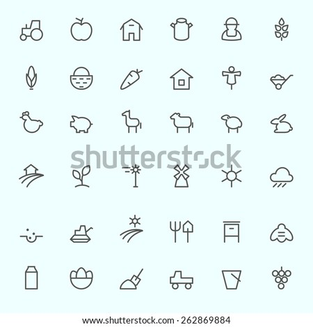 Farm icon set, simple and thin line design - stock vector