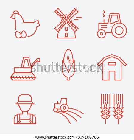 Farm icons, flat design, thin line style - stock vector