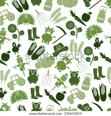 farm icons green seamless pattern eps10 - stock vector