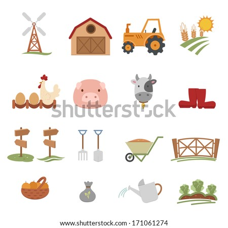 Farm Icons isolated on white background - stock vector