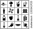 farm icons set - stock photo