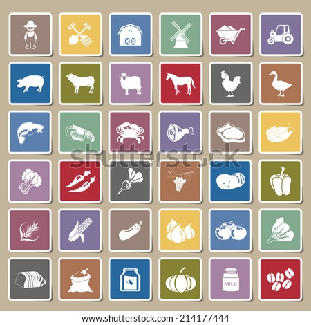 farm icons Sticker Set - stock vector