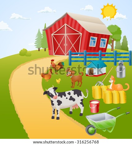 farm illustration with animals, birds and items. vector - stock vector