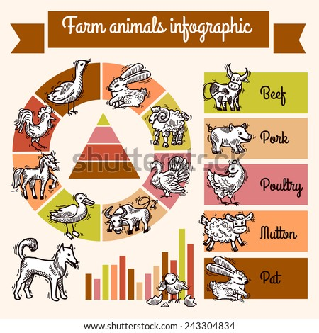 Farm infographics set with sketch animals and charts vector illustration - stock vector