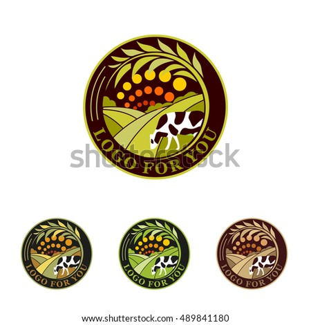 Farm isolated green logo collection. Rural landscape logos. Environmental signs. Set of harvest design emblem elements. Plantations logotype. Agricultural vector illustration.