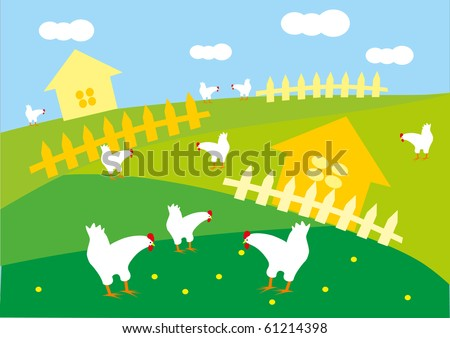 farm landscape - stock vector