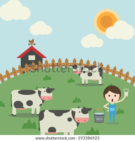 Farm life.  It is a picture of farm life. Cows on the grassland and farmer is holding a glass of fresh milk.