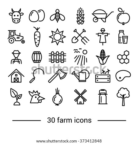farm line icons - stock vector