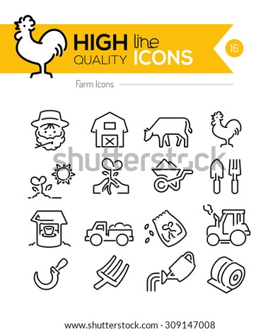 Farm Line Icons Series - stock vector
