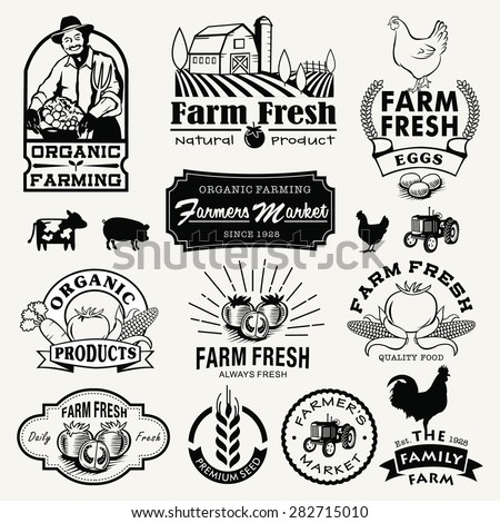 Farm logotypes set. Retro Farm Fresh labels, logos, badges, icons, objects and elements. - stock vector