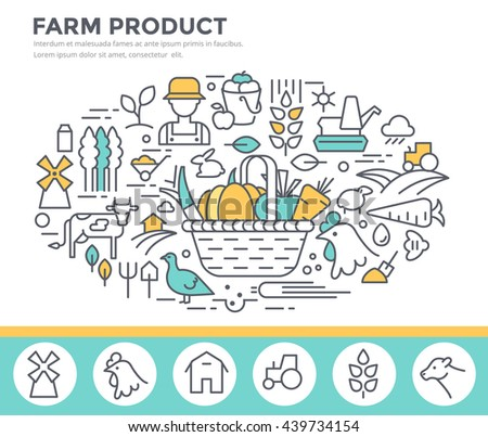 Farm product illustration, organic food concept  vector template, thin line, flat design - stock vector