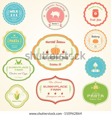 Farm Products Vintage Labels - stock vector