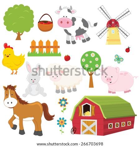 Farm Set - stock vector