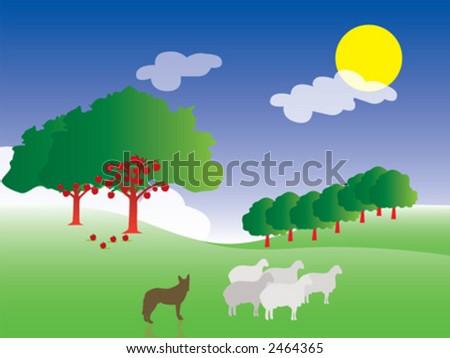 farm, sheep - stock vector