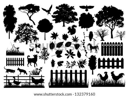 Farm silhouettes - stock vector