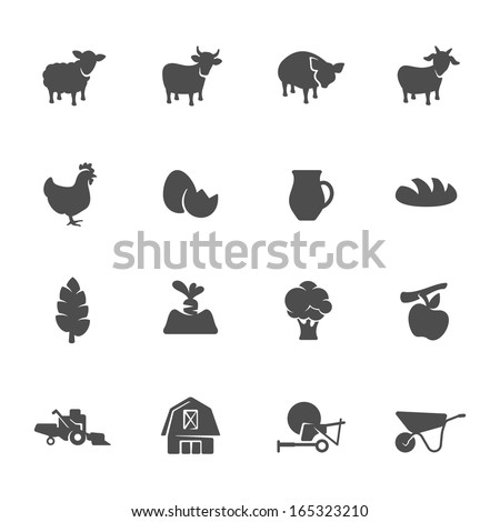 Farm theme icon set - stock vector