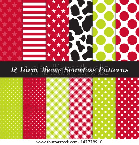 Farm Theme Seamless Pattern Pack - Cow Skin Print, Apple Green and Red Gingham, Polka Dots, Stripes and Stars. Pattern Swatches made with Global Colors. - stock vector