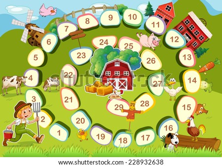 Farm themed board game with numbers - stock vector